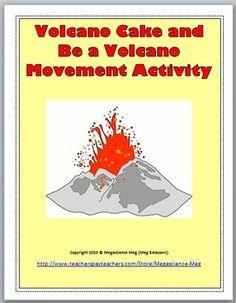 Free Volcano Cake And Be a Volcano Movement Activity Volcano Cake, Erupting Volcano, Kindergarten Activities, Fun Classroom Activities, Creative Activities, Preschool, Science Experiments, Stem Science, Mad Science