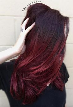 The 50 Sizzling Ombre Hair Color Solutions for Blond, Brown, Red and. -You can find Ombre and more. Maroon Hair Colors, Burgundy Hair Dye, Hair Color Auburn, Burgundy Wine, Burgundy Balayage, Ombre Burgundy, Maroon Hair Dye, Deep Burgandy Hair Color, Purple Ombre