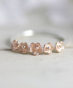 Sterling silver flower ring, statement ring, rose gold ring, flower ring, stacking ring, jewelry, gift for her, summer, holiday, spring