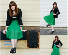 Black Striped Top with Blazer and Green Pleated Skirt Makes this Outfit an Edgy Look by Kathleen Clipper Photography