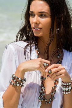 Discover the new look of pearls! Tahitian and SouthSea pearls on handrolled leather by designer Wendy Mignot
