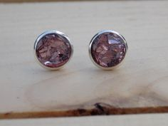 Blush Pink Glass Glitter Stud Earrings  by sewwhimsycreations