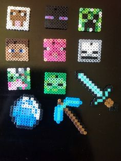 These are Minecraft perlers I made to wear on a chain or for a keychain. Price is for each item and either a ball chain or keychain. Please let me know which Minecraft item you want along with keychain or ball chain. Minecraft Perler, Minecraft Crafts, Minecraft Beads, Minecraft Cookies, Minecraft Mobs, Perler Beads, Fuse Beads, Bead Crafts, Fun Crafts