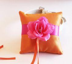 Tangerine Tango & Pink Ring Pillow Ring Pillow by LADogStore, $68.50 #RingPillow #Wedding #Tangerine #Tango #Pink #Ring #Rings #PinkWedding #UniqueWedding #Unique #Pillow #LADogStore #LA #Dog #Store #Collar #DogCollar #Accessory #WeddingAccessories #Accessories #Rhinestone