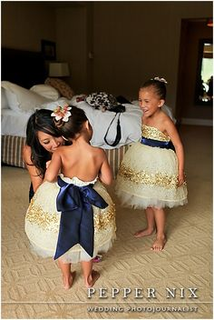 gold and navy (!!)  I LOVE these little dresses!