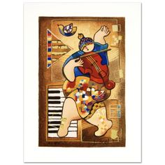 """Dancing on Bars"""" Limited Edition Serigraph by Dorit Levi Signed HC 6 60 New 