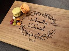 Engraved Cutting Board, Custom Wedding Gift, Personalized Chopping Block, Monogram Board, Anniversary Gift, Housewarming Gift, Hostess Gift