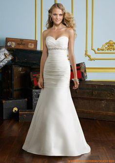 Günstige schlichte Brautkleider aus Satin im Meerjungfrauenstil 2013