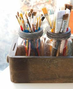 déco vintage pot mason crayons