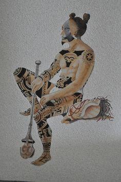 Repro Guerrier #Maori en #sable de Nouvelle Calédonie