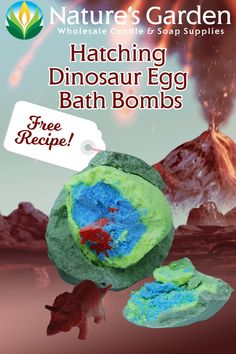 Free Hatching Dinosaur Egg Bath Bomb Recipe by Natures Garden