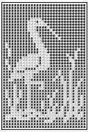 Chart is useful for crocheting or knitting in color (intarsia), filet crochet, cross stitch on aida cloth, cross stitch on crocheted background, duplicate stitch on knitted background, adaptable for needlepoint, plastic canvas or beadwork.