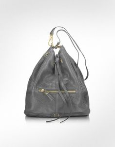 Jerome Dreyfuss Alain - Dark Grey Lambskin Shoulder Bag ( can't resist the drawstrings!)