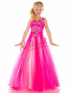 Neon Pink Little Girls Pageant Dress | Mac Duggal 48163S