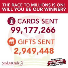 Join our Make it to Millions Giveaway! We are so close to the 100 million cards sent mark and 3 million gifts sent mark.  You can WIN Cash! http://www.whatissoc.com/customcarddiva