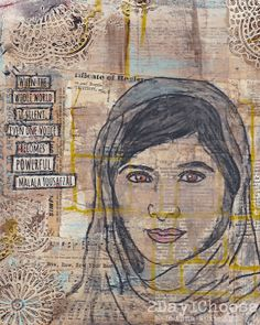 """When the whole world is silent, one voice becomes powerful.""  8x8 Giclee Print Malala Yousafzai Quote Portrait Collage Background of Vintage Papers Created with Mixed Media  Now's your chance to buy it here http://www.etsy.com/listing/172474322/8x8-giclee-print-malala-yousafzai-quote  You can watch a quick video of this portrait coming together here: http://www.youtube.com/watch?v=sHA6f4_JmMQ  #Original_Art"