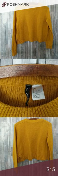 H&M Divided Brand Cropped Sweater H&M Divided Brand Cropped Sweater Small mustard yellow color  104 Divided Sweaters Crew & Scoop Necks