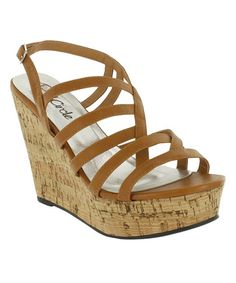 Loving this Tan Anais Wedge Sandal on #zulily! #zulilyfinds