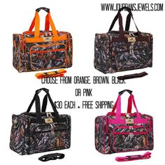 Camo duffle bags! 4 different colors to choose from! FREE shipping!! NEED!!