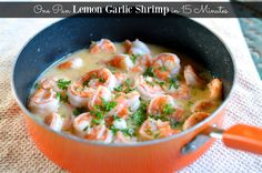 This delightful Lemon Garlic Shrimp cooks is a one pan 15 minute meal. Shrimp sautéd in butter, lemon juice, and garlic, and served over brown rice. Frozen Shrimp Recipes, Fish Recipes, Seafood Recipes, Cooking Recipes, Shrimp Dishes, Fish Dishes, Main Dishes, Lemon Garlic Shrimp, 15 Minute Meals