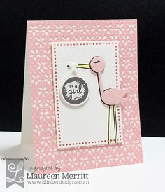 Maureen Merritt for the Lil' Inker Designs June Release featuring Stork Stuff stamps and dies, Dual Dotted Rectangles and the Eyelet Cover Up Die