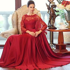 Formal+Evening+Dress+Ball+Gown+Scoop+Floor-length+Satin+Chiffon+with+Crystal+Detailing+/+Sash+/+Ribbon+–+USD+$+99.99