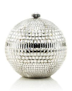 Rhinestone-Encrusted Sphere Evening Clutch Bag, Silvertone by Judith Leiber Couture at Neiman Marcus Last Call.