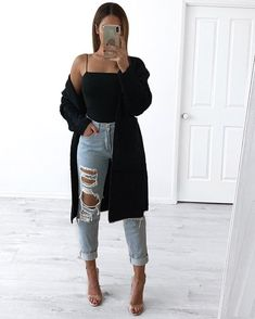 Women Jeans Outfit Cheetah Print Pants Khaki Cargo Trousers Long Sleeve Sweater Dress Lightweight Work Pants Plus Size Style Jeans And Heels Outfit – gladiolusrlily Basic Outfits, Cute Casual Outfits, Simple Outfits, Fall Outfits, Fashion Outfits, Elegantes Outfit Frau, Heels Outfits, Long Sleeve Sweater Dress, Looks Style