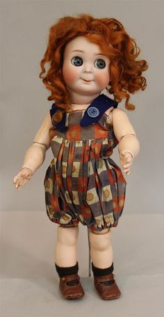 """LOT - 12"""" K * R SIMON & HALBIG 131 GERMANY 2 ANTIQUE BISQUE HEAD GOOGLY DOLL ..."""