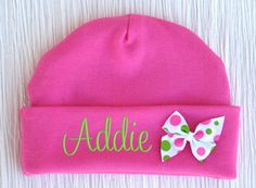 so getting this for Gracyn!!!! Personalized Beanie Hat Newborn Baby Girl Embroidered by parsik93, $13.99