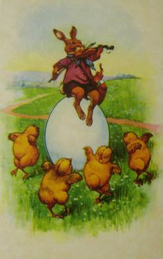 Easter Bunny plays fiddle on egg whilst baby chicks dance Easter Greeting Cards, Vintage Greeting Cards, Vintage Postcards, Vintage Images, Vintage Easter, Vintage Holiday, Easter Art, Easter Bunny, Happy Easter