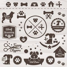XOO Plate :: Dog Pet Vector Icons Badges Labels Set - Collection of dog friendly pet stickers, labels, icons and paw prints - vector AI and EPS.