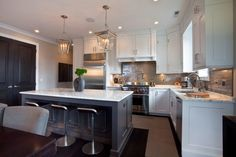 Beautiful Chicago kitchen designed by Michael Abrams   Small Cornice Hanging Lanterns: SL5871