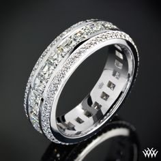 Custom Asscher and Round Full Eternity Diamond Wedding Ring   28004