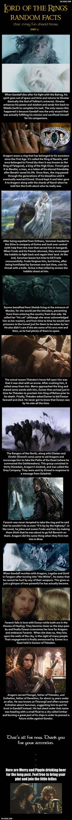 Here are some Lord of the Rings random facts... hechos que un lector de los libros sabría sin duda...