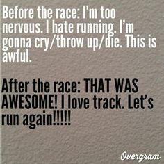 Before and after oh my god this is me EVERY MEET before my hurdle race hah #Track