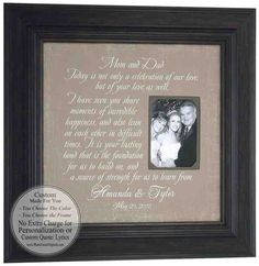Parents of the Bride Groom Gift from Daughter Bride, Personalized Wedding Picture Frame, Thank You Gift For Parents, Wedding Gifts For Parents, Wedding Thank You Gifts, Gifts For Wedding Party, Bride Gifts, Gifts For Mom, Wedding Picture Frames, Wedding Frames, Wedding Signs