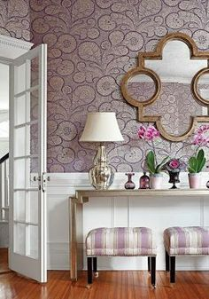 Back In The LimeLight In 2013... Wallpaper: Trobadour wallpaper in plum -- how pretty is this! Very charming when divided by the white raised panel with the coordinating prints on the stools!