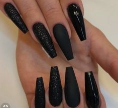 Nail - Super Pretty Long Black Nail Styles & Trends For Ready to wear the Shiny a. - - Super Pretty Long Black Nail Styles & Trends For Ready to wear the Shiny and cutest Nail styles? Try out this Amazing Black Long Nail Designs in. Long Black Nails, Black Coffin Nails, Black Acrylic Nails, Best Acrylic Nails, Matte Nails, Long Nails, Black Glitter Nails, Black Nail Art, Black Wedding Nails