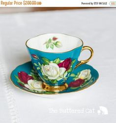 HOLIDAY SALE Beautiful turquoise green teacup and saucer with