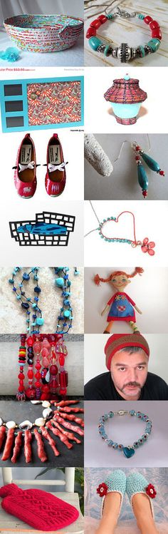 Red and Aqua by Lisa Gossman-Steeves on Etsy--#etsy #treasury #basket Pinned with TreasuryPin.com