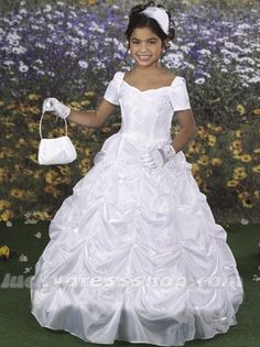 Ball gown long floor length flower girl dress with appliques and lace