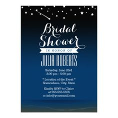 Elegant Blue Night Bridal Shower Invitations