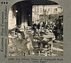 Shepheard's Hotel Terrace - Cairo In Shepheard's Hotel, Grand Hotel, Old Egypt, Cairo Egypt, Victorian House Interiors, Victorian Homes, Nile River, British Colonial, Travelogue