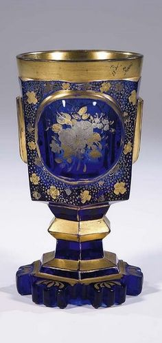 Becher Bohemia Glass Beaker Vintage Old Antique