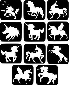 Refill Stencils Only - 11 X Unicorn Glitter Tattoo Stencils - Face Painting And Airbrush Stencils Glitter Tattoos, Glitter Tattoo Stencils, Face Painting Stencils, Face Painting Designs, Stencil Painting, Unicorn Stencil, Airbrush Tattoo, Tattoo Set, Temp Tattoo