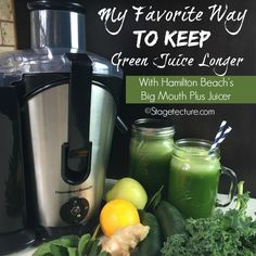 My favorite way to keep Green Juice longer! See how I keep the vitamins locked in for few juicing sessions and less time. Juice Smoothie, Smoothie Recipes, Smoothies, Juice Recipes, Canned Juice, Juicer Reviews, Clean Eating Tips, Juice Plus, Food Website