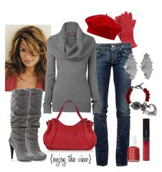 """scarlet & grey"" by enjoytheview ❤ liked on Polyvore featuring Nordstrom, John Lewis, RoÃ¿ Roger's, Phase Eight, Michael Antonio, Gérard Darel, Essie, Shiseido, Charlotte Russe and Mawi"