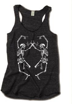 Womens Halloween Dancing SKELETON Tri Blend Tank Top