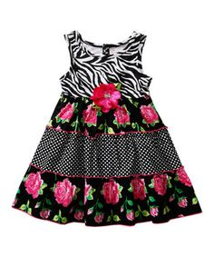 Youngland Black & Pink Zebra Floral Dress - Infant, Toddler & Girls by Youngland #zulily #zulilyfinds